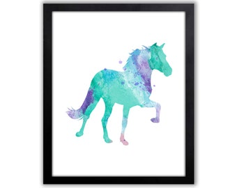 Animal Watercolor Art Print For The Home, Contemporary Wall Art, Horse, Horse Decor, Equestrian - HO008