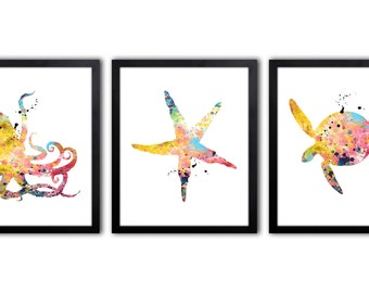 Nautical Nursery - Nautical Decor - Nautical Art - Octopus - Starfish - Sea Turtle - Set of Three Watercolor Art Prints - NS23