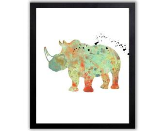 Rhino Art Print - Modern Watercolor Animal Print - SA025