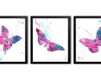 Baby Girl Nursery Decor - Butterfly Art - Butterfly Nursery Art - Butterfly Nursery Print - Abstract Nursery Art - BS8
