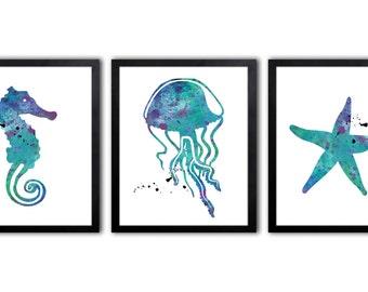 Girls Nautical Nursery Art - Starfish - Jellyfish - Seahorse - NS22
