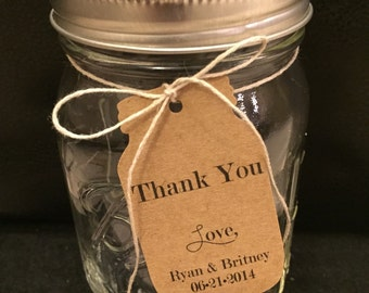 50 Customized Thank You jar shaped gift Tags