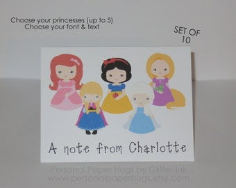 Princess Note Cards - Personalized Princess Stationery - Princess Thank You Cards - Princess Notecards