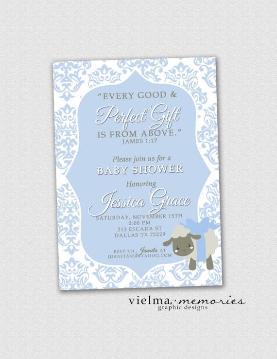 james 1 17 invitation boys baby shower invitation bible verse