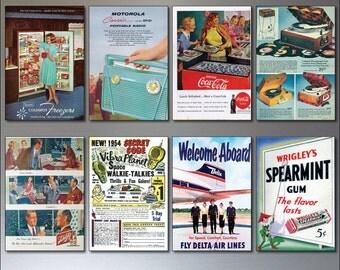 8 Vintage Retro Magazine Advert 1950s reproduction Fridge Magnets -Shabby Chic,