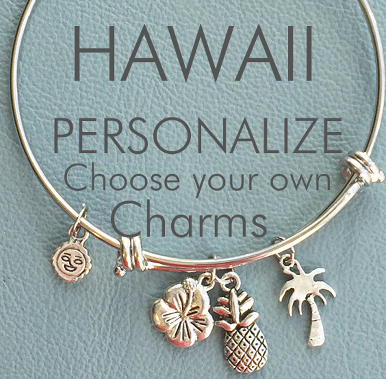 Design Your Own Custom Bangle Charm Bracelet Pick Your Charms: Hawaiian Vacation Custom Bangle Inspired By Charm Bracelet