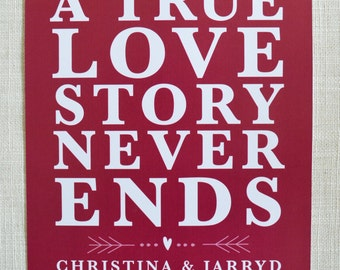 """TRUE LOVE Poster, 8x10"""" perfect for Valentine's Day, Anniversaries or Wedding and Engagement Gifts! Digital File only."""