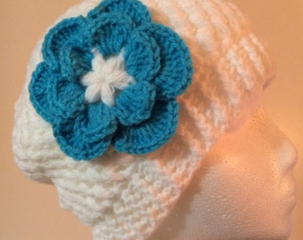 Womens white crochet hat and scarf with blue flower