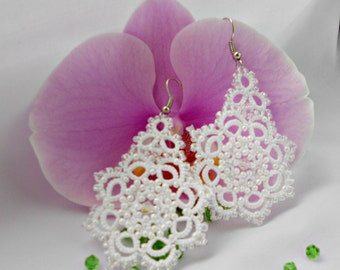 White Wedding Lace Earrings with crystal Beads Handmade Bridal Beaded earrings Tatted earrings wedding jewelry Snowflakes earrings