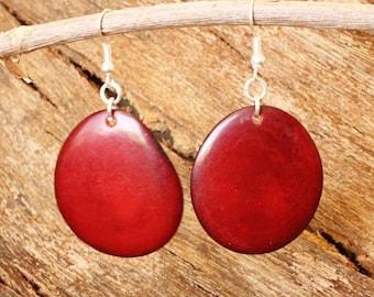 Dark Red Earrings of Tagua Nut - Bold Chunky Earrings - Eco Earrings - Fair Trade Jewelry - Red Bead Earrings - Tagua Nut Jewelry 3200