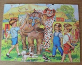 CIRCUS Puzzle Vintage JIGSAW Wooden High Spot 20 Piece Collectors Puzzle Clown Elephant Retro Nursery Decor