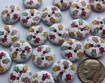 """40 Wood Buttons 15mm Wooden Buttons 5/8"""" inch Cupcake Buttons Small Wood Buttons Embellishments Craft Buttons Sewing Notions Craft Supplies"""