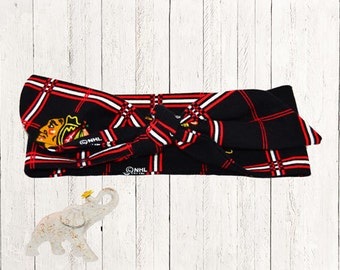 Chicago Blackhawks Top Knot Turban Style Headband - Soft and Warm- Official NHL Hawks Colors and  Logo on Flannel Fabric