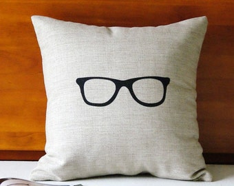 The glasses throw pillow case pillow cover