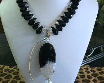 SOLD--Onyx and Crystal Necklace (SOLD)