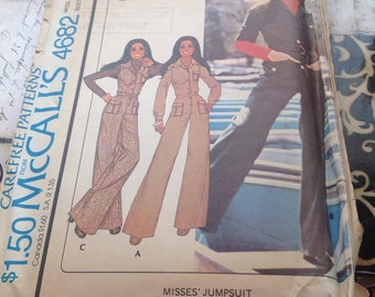Mccalls 4682 carefree pattern for a pantsuit by Marlo Thomas. It is also called a jumpsuit.