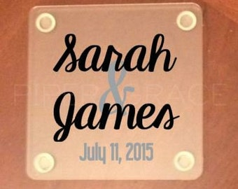 Wedding Coasters Personalized with Names and Wedding Date - Set of 4