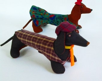 Dog dachshund Pattern and Tutorial, Soft Toy pattern, PDF Toy Pattern, Dog Pattern and Clothes Pattern, Dog Doll Pattern, toy sewing pattern