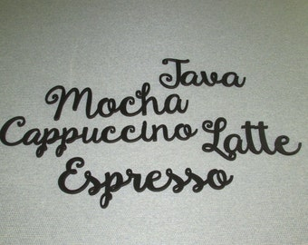Lot of 5 Coffee Wall Words Decor Mocha Latte Java Espresso Cappuccino Art