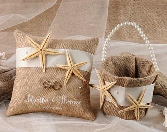Flower Girl Basket & Ring Bearer Pillows, Rustic, Burlap Wedding Pillows, Beach Rustic Basket, Starfish Ring Pillows,