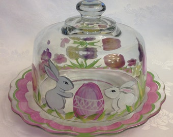Hand painted Easter cheese dome and plate set.