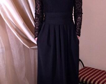 Black Maxi Dress Top Guipure Long Sleeves Pockets