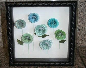 Paper flower garden...paper roses...shadowbox