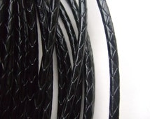 5mm Round Black Snake Embossed Wrapped Imitation Leather Cord 1 Meter