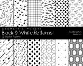 """Black & White Patterns – Geometric Modern, 12 Digital Papers (12""""x12""""), Pattern File PAT Included, Seamless, Commercial Use INSTANT DOWNLOAD"""