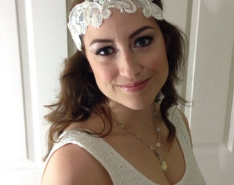 Gadsby Vintage Lace Bridal Headband in ivory color, OOAK