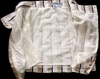 High-waisted Tan & Navy Striped Wrap Around Skirt