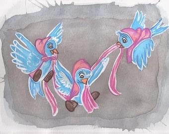 Cinderella Birds Watercolor!