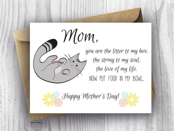 Happy Mothers Day 2014 Card Ideas: Mothers Day Card Floral Printable Funny Mothers Day Cat Card