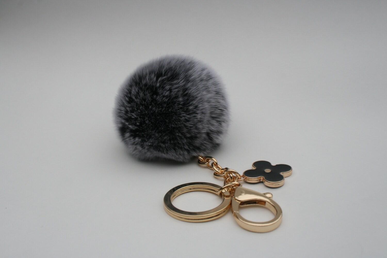 pom perfect black frosted rex rabbit fur pom pom by yogastudio55. Black Bedroom Furniture Sets. Home Design Ideas