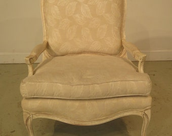 23154E:  SAM MOORE French Paint Decorated Open Arm Bergere Chair