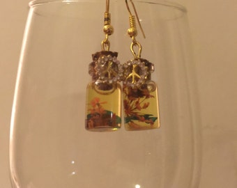Peace Bottle Charm Earrings filled with Lavendar Oil and Flowers