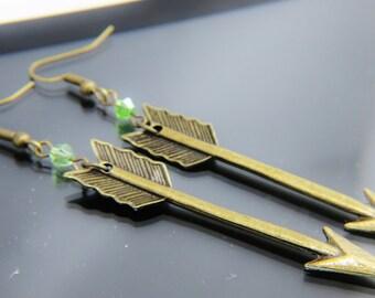 Arrow Earring, August Birthstone, Green, Peridot,  Arrow Earring, Bronze Arrow Earring, Birthstone Jewelry