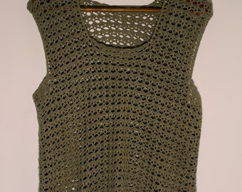 Vintage Crochet Vest Boho Bohemian Hippie Pullover Top