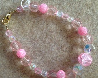 Soft Pink and Irradescent beading
