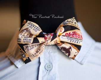 Wild West and Cowboy Patterned Bow, Bow Tie, Pocket Square