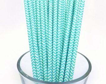 Paper Straws - Chevron Paper Straws - Boys Baby Shower Decoration - Turquoise Party Decor - Bridal Shower Decoration - Turquoise Wedding