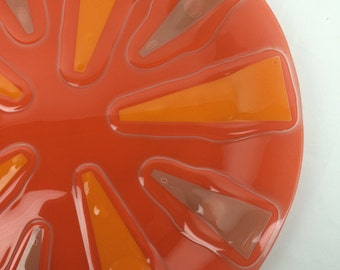 Orange higgins glass plate XXL size