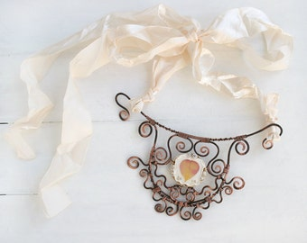 Real Flower Necklace, Hand Forged Copper Necklace, Statement Necklace, Real Flower Jewelry, Botanical Jewelry, Nature Necklace