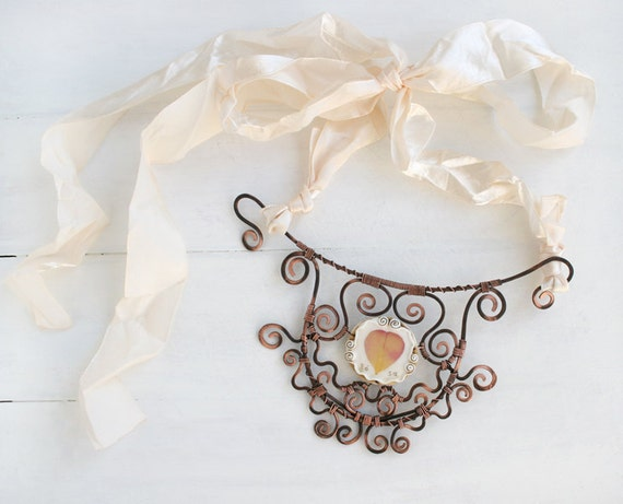 Real Flower Necklace. Hand Forged Copper Necklace. Statement Necklace. Real Flower Jewelry. Botanical Jewelry. Nature Necklace.