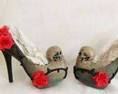 Women Grim Reaper Dead Skull Flower Vine Thorn Custom Sculpted Paint Black Red Blue Glitter Shoe Heel Size 3 4 5 6 7 8 High Heels Platform