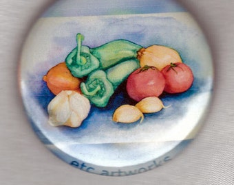 Salsa Vegetables watercolor painting. 1.5-inch button pin or magnet