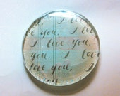 I love You Flat glass Paperweight, Glass Decor