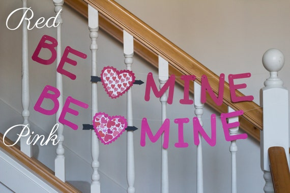 Be Mine banner, Valentine's Day, hearts, red or pink