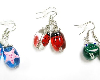 New Hand Painted Sea star Ladybug and Frog Glass Beads Earrings 3 Pairs Set