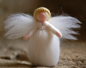 Swarovski Angel, fairy tale wool, Waldorf inspiration, home decor, collectible doll, soft sculpture